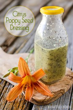 Citrus Poppy Seed Dressing is a light and healthy vinaigrette perfect on fresh summer salads! Salad Dressing Recipes, Salad Dressings, Cooking Recipes, Healthy Recipes, Dip Recipes, Fruit Recipes, Healthy Salads, Recipies, Grilled Peaches