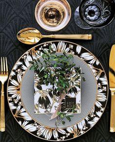 Gate Noir GreenGate Servietten FLORETTE Schwarz weiß Blumen 12,5 cm Papier