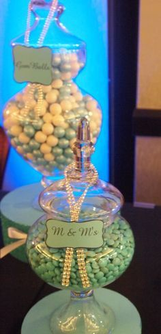Candy jars at a Tiffany's Party #tiffanyparty #candy