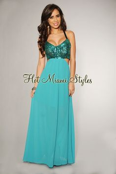 Teal Sequins Cut-Out Maxi Dress