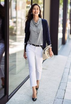 silk shirt (tucked) + straight chinos or light-colored jeans + cardigan + heels