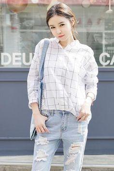 Mandarin Collar Check Shirt NB-ST