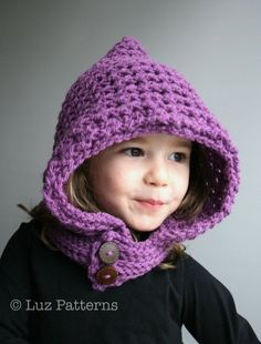 Crochet Patterns, crochet hat pattern, hoodie crochet pattern by luz Patterns #crochetpattern