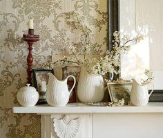 Vintage-Style Mantel Display with Conran's White Oak Tableware