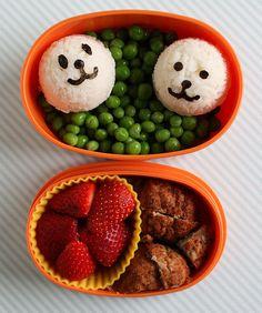 peas - panda riceballs - meatballs - strawberries #Lunchbox