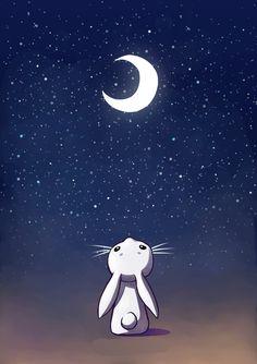 "Saatchi Art Artist: Indrė Bankauskaitė; Painting New Media ""Moon Bunny"""