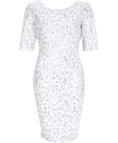 NEW River Island White Silver Sparkly Lace Effect Bodycon Dress Party 6 to 14