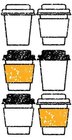 カフェのコーヒーテイクアウトカップイラスト 無料素材です。