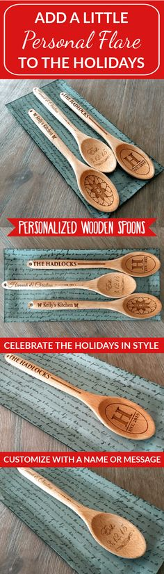 """You will love our brand new 12 1/4 inch-long Personalized Decorative Wooden Spoons, especially at such an incredible price! Choose between three beautiful designs (""""Hadlock"""", """"Hannah & Christian"""", and """"Kelly's Kitchen""""). The spoons have a convenient hole at the tip, perfect for hanging in any location you wish to add a touch of personalization and class. Order yours today!"""