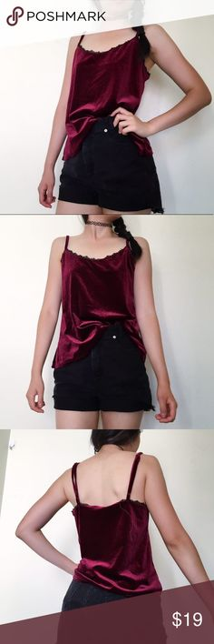 Maroon velvety tank top with black lace trim Maroon velvety tank top with black lace trim🖤❤️🖤 Size M with adjustable shoulder straps. Love the texture of this top and the cute lacy detail at chest. Pair with some black high waist denim, velvet choker and dark red lips to slay🙋🏻A must have in your waldrobe🔥#sexy #dress #70s #80s #90s #velvet #velvety #maroon #designer #staple #musthave #slip #party #nightclub #lace #lacy #lolita #heart #oneofakind #dreamy #dainty #goth #gothic #angel…
