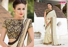 Stunning Off White Embroidered Bordered Saree!! #saree #party #festive