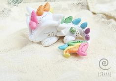 Pastel Rainbow Dragon // Tiny Dragon by PlushlikeCreatures on Etsy, $23.00