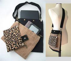 women messenger bag, cross body tote bag ,laptop bag ,diaper bag, Leopard purse, black handbag