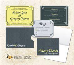 ART DECO Wedding Invitation Set - Art Deco/Geometric/Great Gatsby Style Invitation Set w/Sleeve, RSVP & Thank You - Printable Digital File