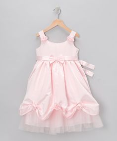 Take a look at this Pink Satin Bow Dress - Girls by Cupcake Hues: Girls' Apparel on #zulily today!