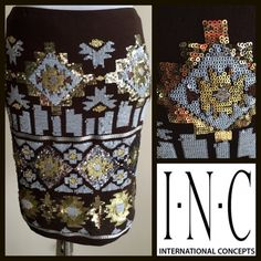 New Listing! INC Brown Sequined Skirt INC Cotton/Lycra Brown Sequin Skirt. Elastic waistband and sequins are only in the front of the skirt, the back is plain. Stretches to fit your curves. Bundle & Save $. INC International Concepts Skirts Mini
