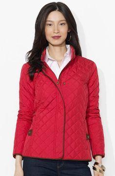 Lauren Ralph Lauren Faux Suede Trim Quilted Jacket available at #Nordstrom