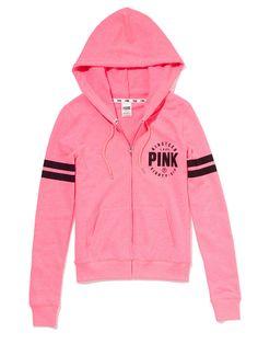 VS PINK Perfect Zip Hoodie in Neon Pink