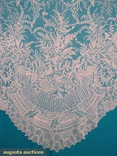 "POINT DE GAZ WEDDING VEIL, 1870s Both design & mesh entirely hand made, intricately worked English garden flowers & leaf edge border interspersed w/ phlox bouquets, 53"" x 126"""
