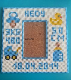 Birth date photo frame hama perler beads by jess-perles