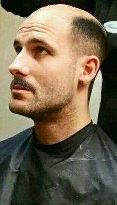 Mustache Men, Mustache Styles, Bald With Beard, Bald Man, Male Pattern Baldness, Bald Heads, Shaved Head, Hair Loss, Cop Uniform