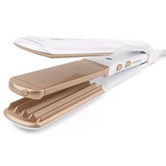 Riwa Z2 Styling Tool 2 in 1 Hair Flat Iron / Waving Wand 1-1/2 Inch Gold White -- You can get more details here : Travel Hair care