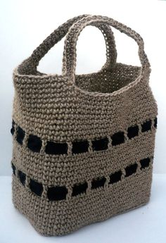 Crochet Jute Tote Shopping Bag. Unisex. Plain black bands Made in the UK. FREE P