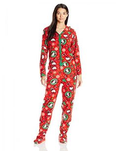2ca23de68a Hello Kitty Women s Ugly Holiday Footed Pajamas with Hood