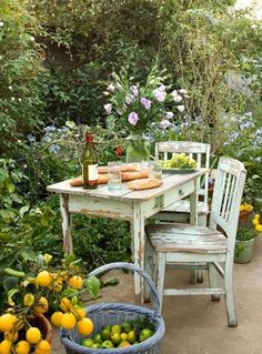 #lifeinstyle #greenwithenvy.  I would seat here with good company to drink That wine and eat that fresh bread.