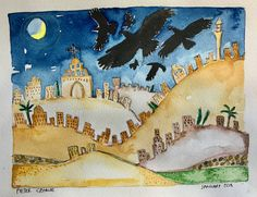 Watercolour Slack ravens in Palestine Watercolour Paintings, Watercolor, Palestine, Ravens, Places, Artwork, Pen And Wash, Watercolor Paintings, Watercolor Painting