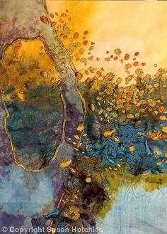 Sue Hotchkis / Susan Hotchkis - textile designer stitched abstract art: Water - waff life photos and shared Textile Fiber Art, Textile Artists, Diy Art, Water Abstract, Contemporary Abstract Art, Contemporary Embroidery, Silk Painting, Embroidery Art, Fabric Art