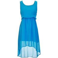 Blue Billowy Chiffon High-Low Sleeveless Empire Waist Dress