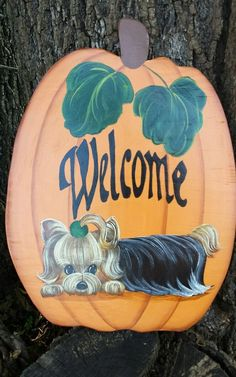 Handpainted Yorkie Painting Pumpkin  Door Wall Fall Home Decor Misspaintsalot