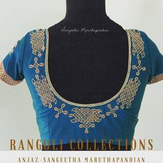 Beautiful blue color designer blouse with rangoli design hand embroidery thread work. 22 October 2017