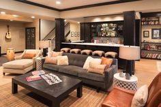 How To Create A Cozy Basement From basement family rooms to home theaters, it's time you had a space to relax! Basement Family Rooms, Home Remodeling, Home, Basement Living Rooms, Family Room, Family Room Design, Cozy Basement, Basement Decor, Home Decor