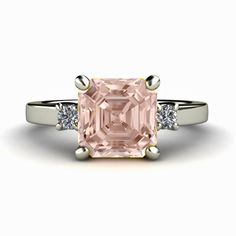 Asscher Morganite Engagement Ring 3 Stone Morganite by RareEarth