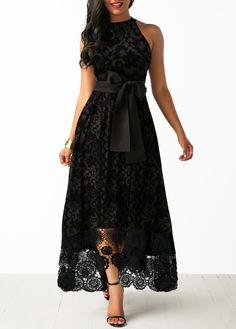 Party Dresses For Women Belted Bib Neck Sleeveless Lace Maxi Dress Lace Dress Black, Lace Maxi, Lace Bra, Dresses Elegant, Beautiful Dresses, Belted Dress, The Dress, Tight Dresses, Casual Dresses