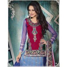 Maroon and Royal Blue  color Net Brocade Anarkali kameez