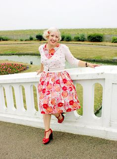 50s style floral dress and platform sandals
