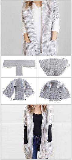 Crochet poncho 384565255683493375 - Crochet Waffle Stitch Cardigan Source by marynesavary Loom Knitting, Knitting Stitches, Knitting Patterns, Crochet Patterns, Crochet Jacket Pattern, Knitting Projects, Crochet Cardigan, Knit Crochet, Shrug Sweater