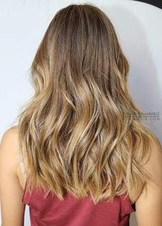 dark blonde with highlights - wish I could make my hair wavy like this
