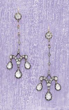 Circa 1820 Diamond Earrings - Pierre Bergé & Associés Auction House