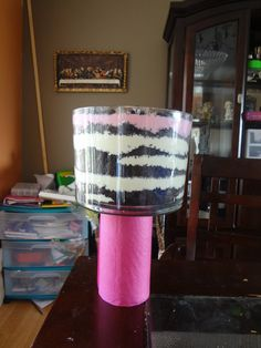 WILD zebra print Cake.  Dirt Cake in a trifle bowl!! Worked Great!