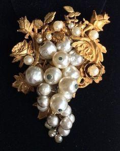 Glorious Big Vintage Miriam Haskell Brooch Pin Baroque Pearl Gold Filigree Sign | eBay