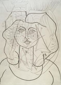Weeping Woman II Portrait of Francoise, Pablo Picasso Pablo Picasso, Art Picasso, Picasso Portraits, Picasso Drawing, Picasso Paintings, Painting & Drawing, Painting Lessons, Picasso Sketches, Drawing Sketches
