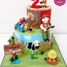 Resultado de imagen para tortas de la granja de zenon Birthday Angel, 2 Birthday Cake, Farm Birthday, Birthday Parties, Monkey 3, Farm Party, Farm Theme, First Birthdays, Fondant