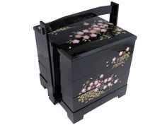 Lacquered Black with Pink Cherry Blossom Motif Japanese Bento Box