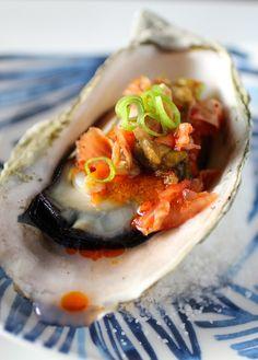 Korean Style BBQ Oysters – Gochujang Butter, Kimchi, Scallion