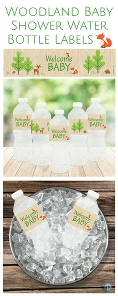 Here is a great way to bring that extra special touch to your Woodland Creatures themed baby shower beverage table and decorations.  #woodlandbabyshower