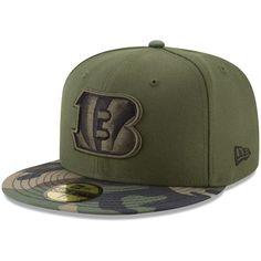 ba261542596 Men s Cincinnati Bengals New Era Green Camo Woodland 59FIFTY Fitted Hat